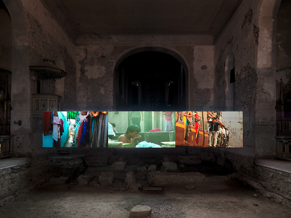 Mumbai: A Laundry Field, Video projection at Johanniterkirche Feldkirch, presented by Kunstmuseum Lichtenstein